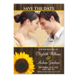 Yellow Sunflower Barn Wood Photo Save the Date Magnetic Card