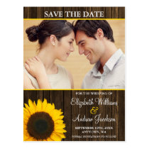 Yellow Sunflower Barn Wood Photo Save the Date Postcard