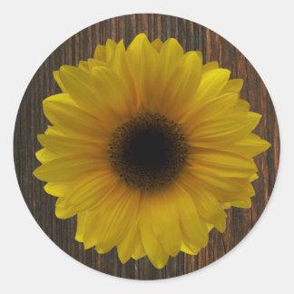 Yellow Sunflower & Barnwood Envelope Seal Sticker