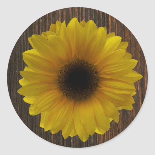 Yellow Sunflower & Barnwood Envelope Seal Sticker