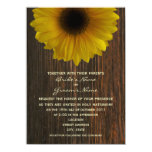 Yellow Sunflower & Barnwood Fall Wedding Card