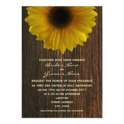 Yellow Sunflower & Barnwood Fall Wedding 4.5x6.25 Paper Invitation Card