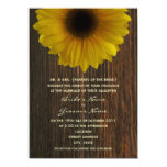 Yellow Sunflower & Barnwood Fall Wedding Personalized Invitations