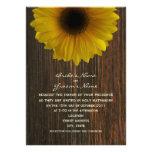 Yellow Sunflower & Barnwood Fall Wedding Custom Announcements
