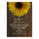 "Yellow Sunflower & Barnwood Fall Wedding 4.5"" X 6.25"" Invitation Card"