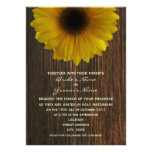 Yellow Sunflower & Barnwood Fall Wedding Invites