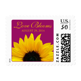 Yellow Sunflower Berry Pink Love Blooms Wedding Postage