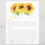 """Yellow Sunflower Binder Recipe Inserts<br><div class=""""desc"""">Yellow watercolor country sunflower floral binder recipe insert sheets. This yellow sunflower wedding recipe insert is a good choice for a summer wedding shower or a fall / autumn wedding shower. This watercolor sunflower flower recipe insert sheet features beautiful watercolor yellow sunflowers with green leaves. This country sunflower recipe bridal...</div>"""