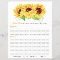 Yellow Sunflower Binder Recipe Inserts