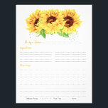 """Yellow Sunflower Binder Recipe Inserts Flyer<br><div class=""""desc"""">Yellow watercolor country sunflower floral binder recipe insert sheets. This yellow sunflower wedding recipe insert is a good choice for a summer wedding shower or a fall / autumn wedding shower. This watercolor sunflower flower recipe insert sheet features beautiful watercolor yellow sunflowers with green leaves. This country sunflower recipe bridal...</div>"""