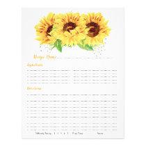 Yellow Sunflower Binder Recipe Inserts Flyer