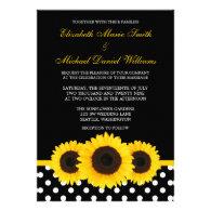 Yellow Sunflower Black and White Polka Dot Wedding Invite