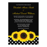 Yellow Sunflower Black and White Polka Dot Wedding 5x7 Paper Invitation Card