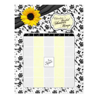 Yellow Sunflower Black Floral Bridal Shower Bingo Letterhead