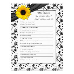 Yellow Sunflower Black Floral Bridal Shower Game Letterhead