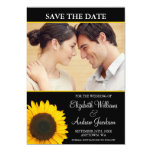 Yellow Sunflower Black Photo Save the Date Custom Announcement