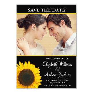 Yellow Sunflower Black Photo Save the Date Custom Announcement