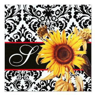 YELLOW SUNFLOWER  BLACK WHITE  DAMASK MONOGRAM CARD