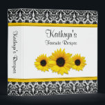 """Yellow Sunflower Black White Damask Recipe Binder<br><div class=""""desc"""">The text on this chic black and white floral damask yellow sunflower recipe binder is fully customizable. Really, it can be used as any kind of binder. Some suggestions are a journal, a wedding album binder, a wedding planning binder, a school binder, etc. All you need to do is change...</div>"""