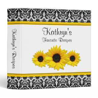 Yellow Sunflower Black White Damask Recipe Binder
