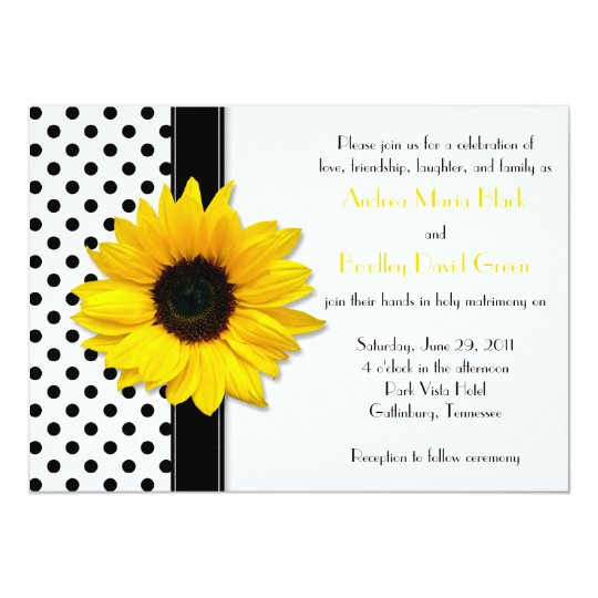 Yellow Sunflower Black White Polka Dot Wedding Card