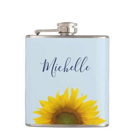 Yellow Sunflower Bloom Monogram Elegant Flask