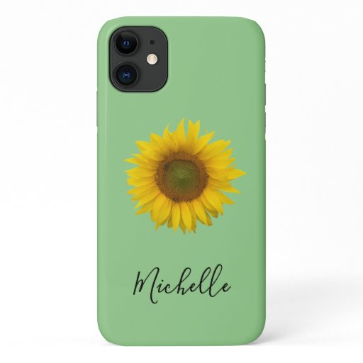 Yellow Sunflower Bloom Monogram Elegant Green iPhone 11 Case