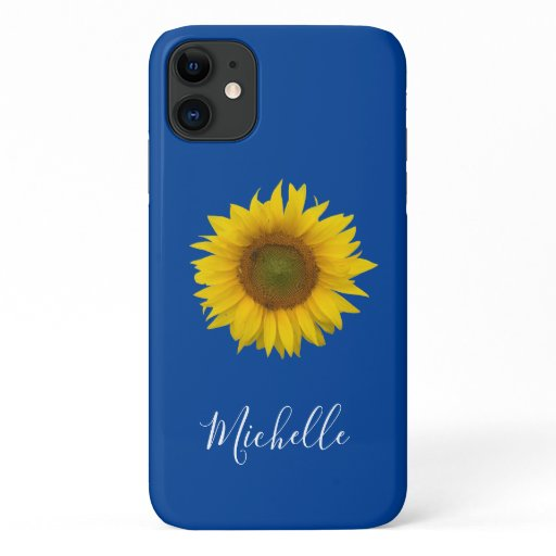 Yellow Sunflower Bloom Monogram Trendy Blue iPhone 11 Case