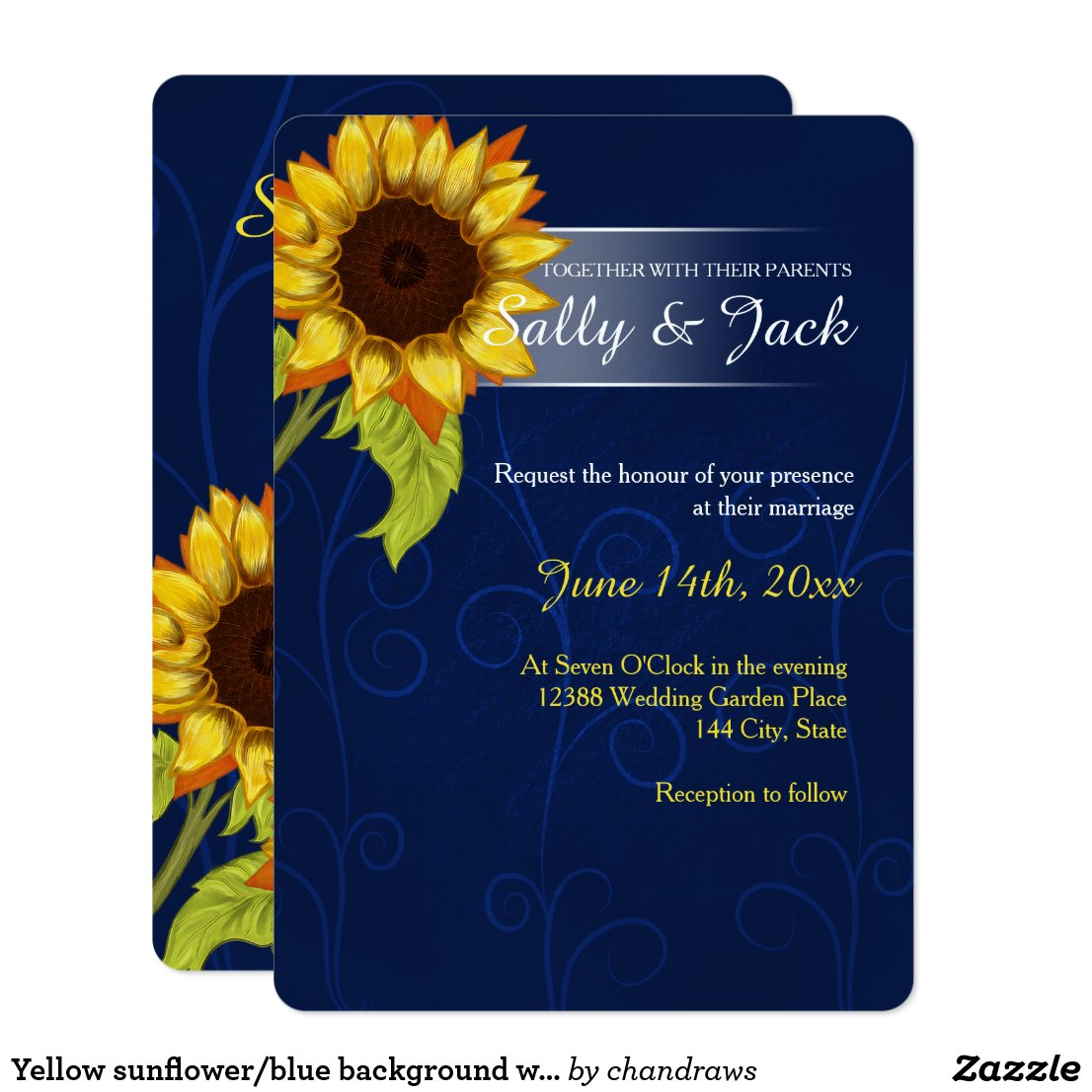 Yellow sunflower/blue background wedding card