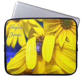 Yellow Sunflower, Blue Bee Laptop Sleeve