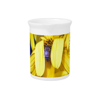 Yellow Sunflower, Blue Bee Pitcher