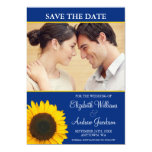 Yellow Sunflower Blue Photo Save the Date Card