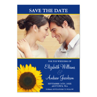 Yellow Sunflower Blue Photo Save the Date Custom Invite