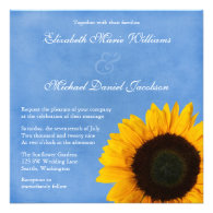 Yellow Sunflower Blue Sky Wedding Personalized Invitation