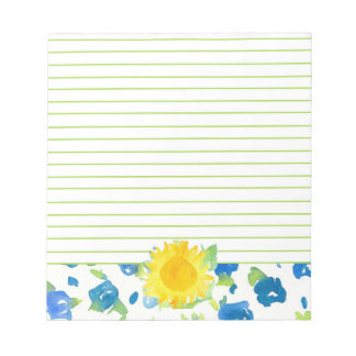 Yellow Sunflower Blue Wildflowers Watercolor Lined Note Pad