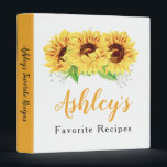 """Yellow Sunflower Bridal Shower Recipe Binder<br><div class=""""desc"""">Yellow watercolor sunflower flower floral bridal shower recipe binder (recipe card inserts are not included but plastic insert sheets can be purchased from a variety of stores). This yellow sunflower personalized recipe binder is a good choice for a summer wedding shower or a fall / autumn wedding shower. This yellow...</div>"""