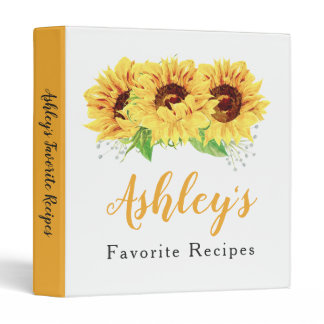 Yellow Sunflower Bridal Shower Recipe Binder