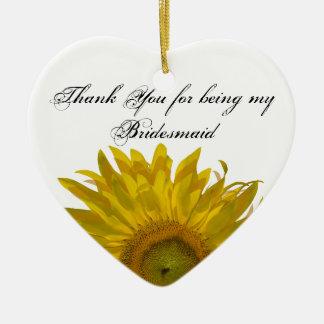 Yellow Sunflower Bridesmaid Thank You Ceramic Ornament