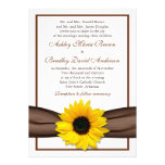 Yellow Sunflower Brown Ribbon Wedding Invitation