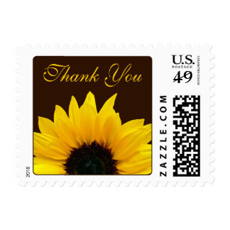 Yellow Sunflower Brown Wedding Thank You Postage