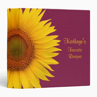 Yellow Sunflower Burgundy Recipe Binder