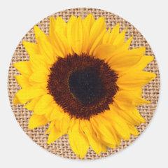 Yellow Sunflower Burlap Sticker Envelope Seal