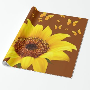 Coffee Themed YELLOW SUNFLOWER  & BUTTERFLIES ON COFFEE BROWN WRAPPING PAPER