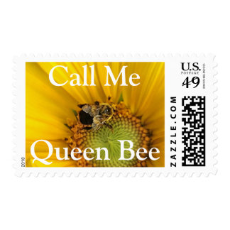 Yellow Sunflower Call Me Queen Bee Postage Stamps