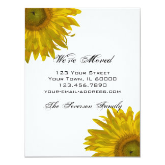 """Yellow Sunflower Change of Address Announcements 4.25"""" X 5.5"""" Invitation Card"""
