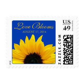 Yellow Sunflower Cobalt Blue Love Blooms Wedding Postage