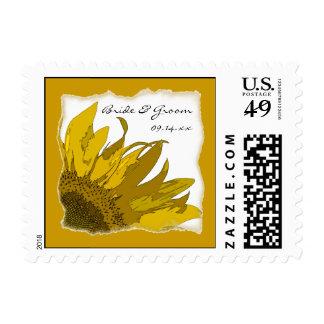 Yellow Sunflower Corner Wedding Postage