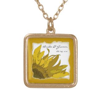 Yellow Sunflower Corner Wedding Square Pendant Necklace