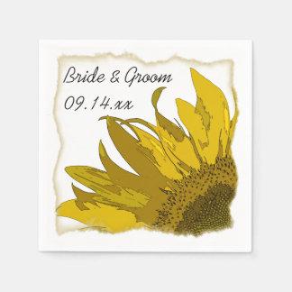 Yellow Sunflower Corner Wedding Standard Cocktail Napkin