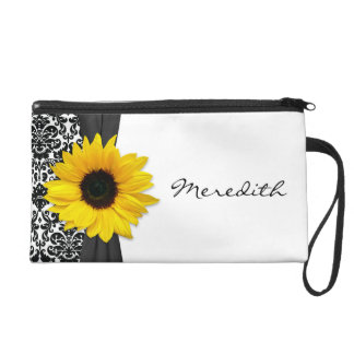 Yellow Sunflower Damask Personalized Wristlet